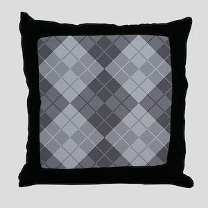 Grey Argyle Throw Pillow