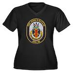 USS JOHN S. Women's Plus Size V-Neck Dark T-Shirt