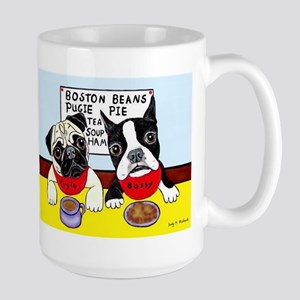 Dinner at the Diner Pug and Boston Large Mug