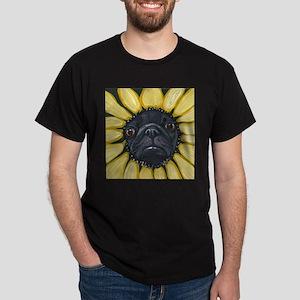 Sunflower Black Pug Dog Art T-Shirt
