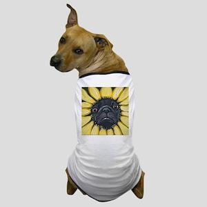 Sunflower Black Pug Dog Art Dog T-Shirt