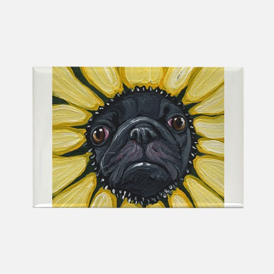 Sunflower Black Pug Dog Art Magnets