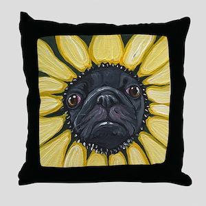 Sunflower Black Pug Dog Art Throw Pillow