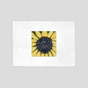 Sunflower Black Pug Dog Art 5'x7'Area Rug