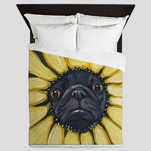 Sunflower Black Pug Dog Art Queen Duvet