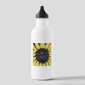 Sunflower Black Pug Dog Art Water Bottle