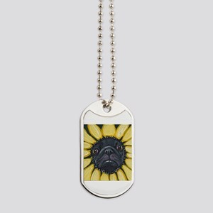 Sunflower Black Pug Dog Art Dog Tags