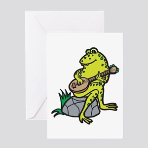 Silly Frog Play Guitar Greeting Card