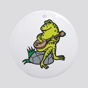 Silly Frog Play Guitar Ornament (Round)