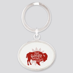 Glacier Buffalo Sunburst Oval Keychain