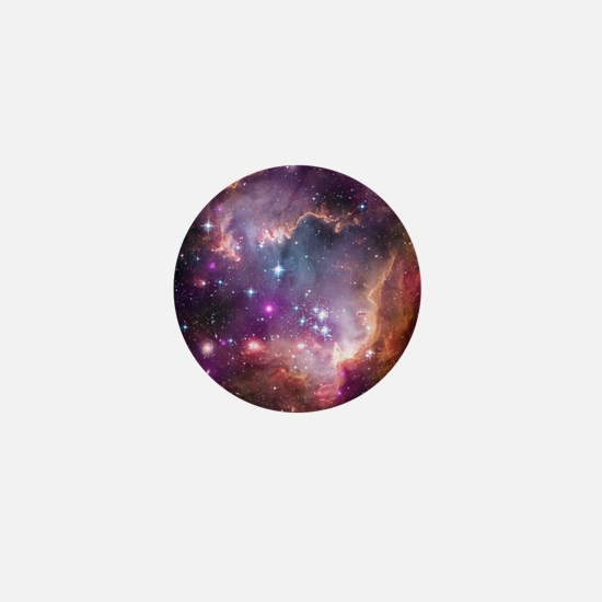 galaxy stars space nebula pink purple  Mini Button