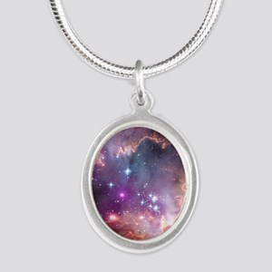 galaxy stars space nebula pin Silver Oval Necklace