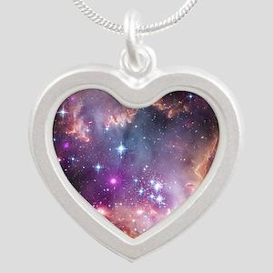 galaxy stars space nebula pi Silver Heart Necklace