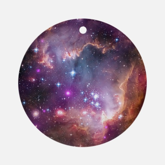 galaxy stars space nebula pink purp Round Ornament