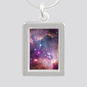 galaxy stars space nebul Silver Portrait Necklace