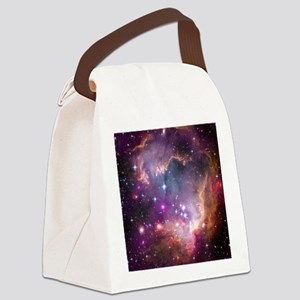 galaxy stars space nebula pink pu Canvas Lunch Bag