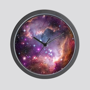galaxy stars space nebula pink purple n Wall Clock