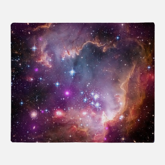 galaxy stars space nebula pink purpl Throw Blanket