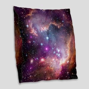galaxy stars space nebula pink Burlap Throw Pillow