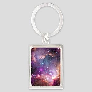 galaxy stars space nebula pink p Portrait Keychain
