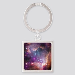 galaxy stars space nebula pink pur Square Keychain