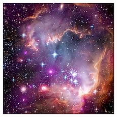 galaxy stars space nebula pink purple nasa photo p Poster