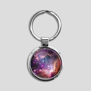 galaxy stars space nebula pink purp Round Keychain
