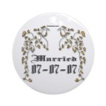 Anniversary Married 07/07/07 Ornament (Round)