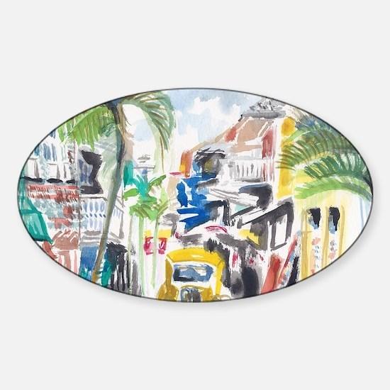 St Maarten Alley Sticker (Oval)
