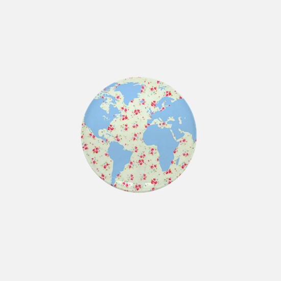 floral world map globe with petite pin Mini Button