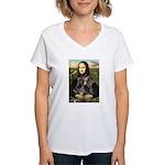 Mona's 2 Dobies Women's V-Neck T-Shirt