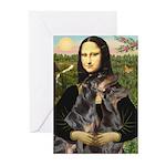 Mona's 2 Dobies Greeting Cards (Pk of 10)