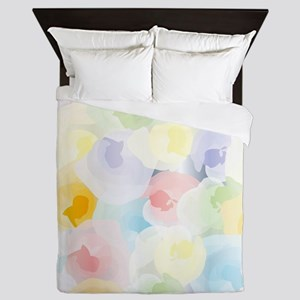 Abstract Pastel Floral Queen Duvet