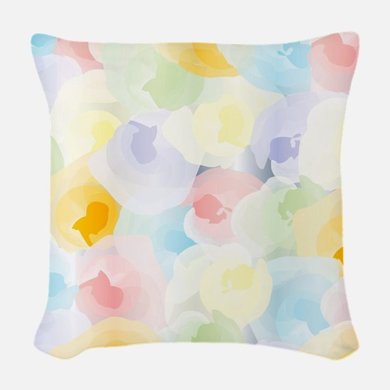 Abstract Pastel Floral Woven Throw Pillow
