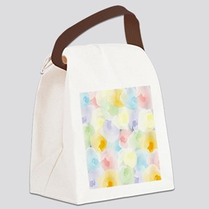 Abstract Pastel Floral Canvas Lunch Bag