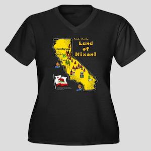CA-Nixon! Women's Plus Size V-Neck Dark T-Shirt