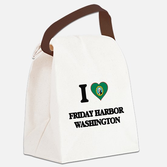 I love Friday Harbor Washington Canvas Lunch Bag