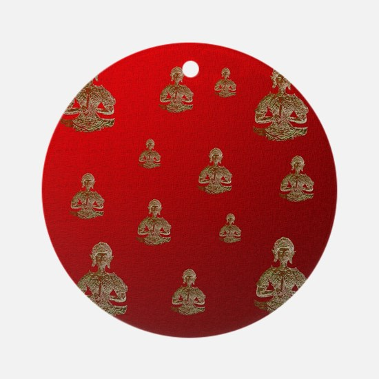 buddha in red Round Ornament