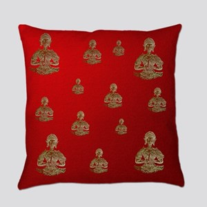 buddha in red Everyday Pillow