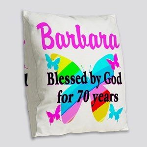 GOD LOVING 70TH Burlap Throw Pillow