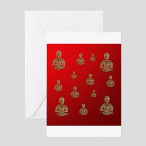 buddha in red Greeting Cards