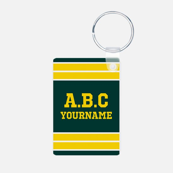 Yellow and Green Sports Je Aluminum Photo Keychain