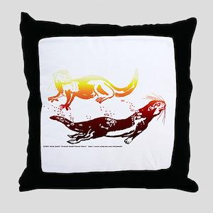 Firey Otters Throw Pillow