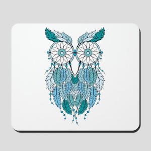 Blue dreamcatcher owl Mousepad