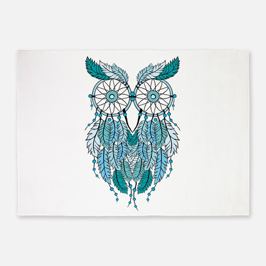 Blue dreamcatcher owl 5'x7'Area Rug