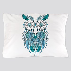 Blue dreamcatcher owl Pillow Case