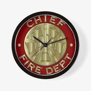 Fire chief brass sybol Wall Clock