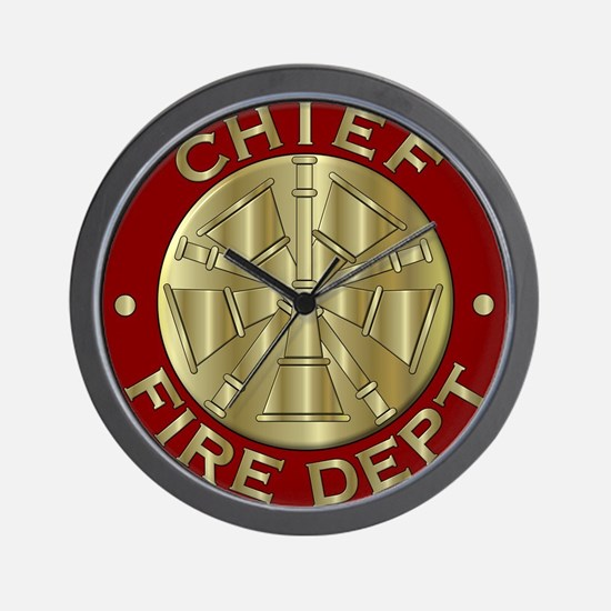 Fire chief brass sybol Wall Clock
