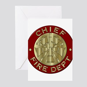 Fire chief brass sybol Greeting Cards