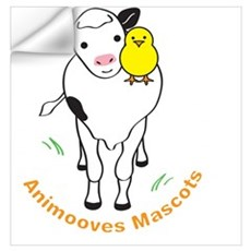 Miss Emily & Buttercup Animooves Mascots white Wall Decal